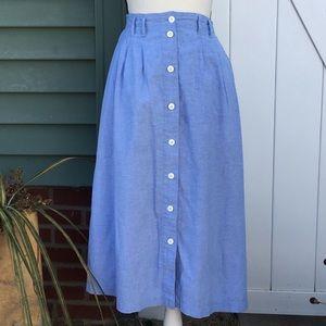 Vintage Levi's Chambray Button Front Midi Skirt